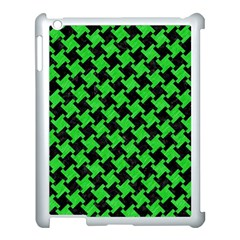 Houndstooth2 Black Marble & Green Colored Pencil Apple Ipad 3/4 Case (white)