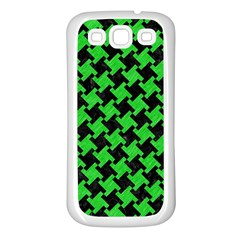 Houndstooth2 Black Marble & Green Colored Pencil Samsung Galaxy S3 Back Case (white)