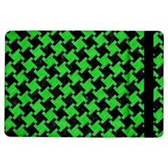 Houndstooth2 Black Marble & Green Colored Pencil Ipad Air Flip