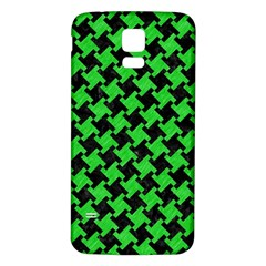 Houndstooth2 Black Marble & Green Colored Pencil Samsung Galaxy S5 Back Case (white)