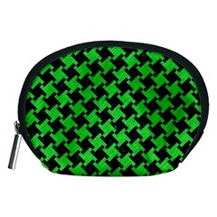 Houndstooth2 Black Marble & Green Colored Pencil Accessory Pouches (medium)