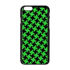 Houndstooth2 Black Marble & Green Colored Pencil Apple Iphone 6/6s Black Enamel Case