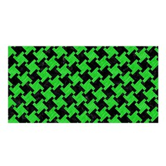 Houndstooth2 Black Marble & Green Colored Pencil Satin Shawl