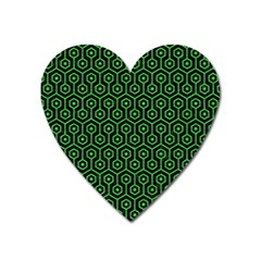 Hexagon1 Black Marble & Green Colored Pencil Heart Magnet