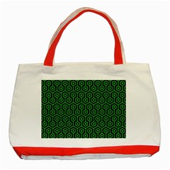 Hexagon1 Black Marble & Green Colored Pencil Classic Tote Bag (red)