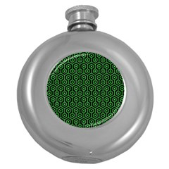 Hexagon1 Black Marble & Green Colored Pencil Round Hip Flask (5 Oz)