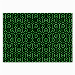 Hexagon1 Black Marble & Green Colored Pencil Large Glasses Cloth (2 Side)