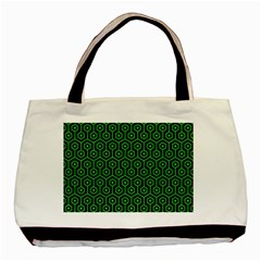 Hexagon1 Black Marble & Green Colored Pencil Basic Tote Bag (two Sides)