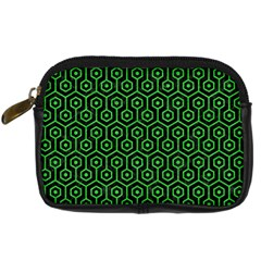 Hexagon1 Black Marble & Green Colored Pencil Digital Camera Cases