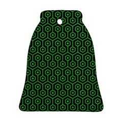 Hexagon1 Black Marble & Green Colored Pencil Ornament (bell)