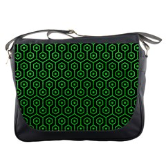 Hexagon1 Black Marble & Green Colored Pencil Messenger Bags