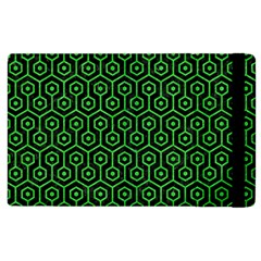 Hexagon1 Black Marble & Green Colored Pencil Apple Ipad 3/4 Flip Case