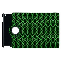 Hexagon1 Black Marble & Green Colored Pencil Apple Ipad 2 Flip 360 Case