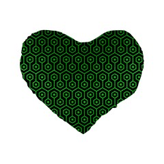Hexagon1 Black Marble & Green Colored Pencil Standard 16  Premium Flano Heart Shape Cushions
