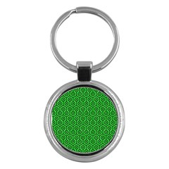 Hexagon1 Black Marble & Green Colored Pencil (r) Key Chains (round)