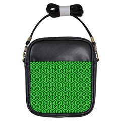 Hexagon1 Black Marble & Green Colored Pencil (r) Girls Sling Bags