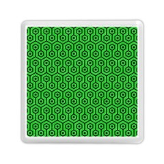 Hexagon1 Black Marble & Green Colored Pencil (r) Memory Card Reader (square)