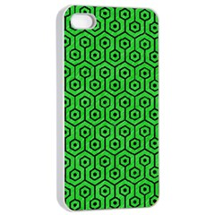 Hexagon1 Black Marble & Green Colored Pencil (r) Apple Iphone 4/4s Seamless Case (white)