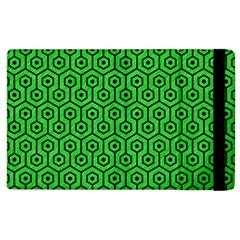 Hexagon1 Black Marble & Green Colored Pencil (r) Apple Ipad 2 Flip Case