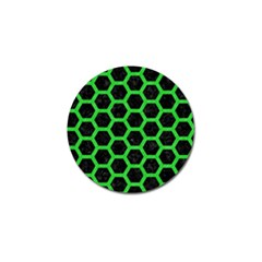 Hexagon2 Black Marble & Green Colored Pencil Golf Ball Marker (4 Pack)