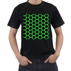 Hexagon2 Black Marble & Green Colored Pencil Men s T Shirt (black) (two Sided)