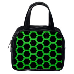Hexagon2 Black Marble & Green Colored Pencil Classic Handbags (one Side)