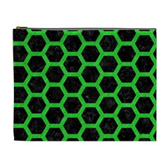 Hexagon2 Black Marble & Green Colored Pencil Cosmetic Bag (xl)