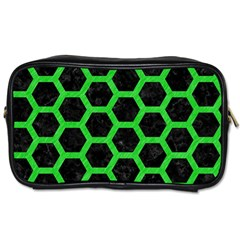 Hexagon2 Black Marble & Green Colored Pencil Toiletries Bags