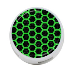 Hexagon2 Black Marble & Green Colored Pencil 4 Port Usb Hub (two Sides)