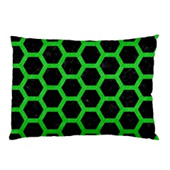 Hexagon2 Black Marble & Green Colored Pencil Pillow Case (two Sides)