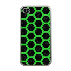 Hexagon2 Black Marble & Green Colored Pencil Apple Iphone 4 Case (clear)