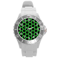 Hexagon2 Black Marble & Green Colored Pencil Round Plastic Sport Watch (l)