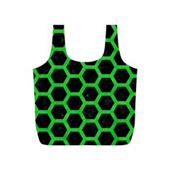 Hexagon2 Black Marble & Green Colored Pencil Full Print Recycle Bags (s)