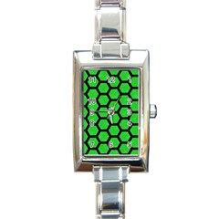 Hexagon2 Black Marble & Green Colored Pencil (r) Rectangle Italian Charm Watch