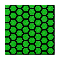 Hexagon2 Black Marble & Green Colored Pencil (r) Tile Coasters