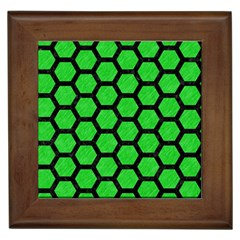 Hexagon2 Black Marble & Green Colored Pencil (r) Framed Tiles