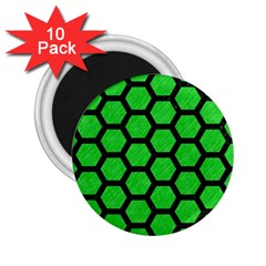 Hexagon2 Black Marble & Green Colored Pencil (r) 2 25  Magnets (10 Pack)