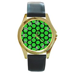 Hexagon2 Black Marble & Green Colored Pencil (r) Round Gold Metal Watch