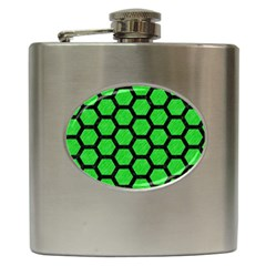 Hexagon2 Black Marble & Green Colored Pencil (r) Hip Flask (6 Oz)