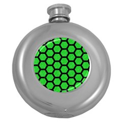 Hexagon2 Black Marble & Green Colored Pencil (r) Round Hip Flask (5 Oz)