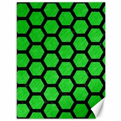 Hexagon2 Black Marble & Green Colored Pencil (r) Canvas 36  X 48