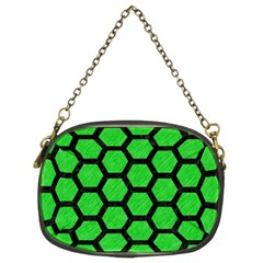 Hexagon2 Black Marble & Green Colored Pencil (r) Chain Purses (two Sides)