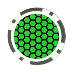 Hexagon2 Black Marble & Green Colored Pencil (r) Poker Chip Card Guard (10 Pack)