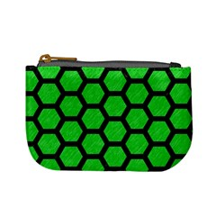 Hexagon2 Black Marble & Green Colored Pencil (r) Mini Coin Purses