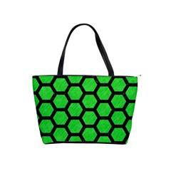Hexagon2 Black Marble & Green Colored Pencil (r) Shoulder Handbags