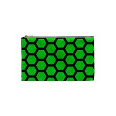 Hexagon2 Black Marble & Green Colored Pencil (r) Cosmetic Bag (small)
