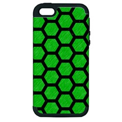 Hexagon2 Black Marble & Green Colored Pencil (r) Apple Iphone 5 Hardshell Case (pc+silicone)
