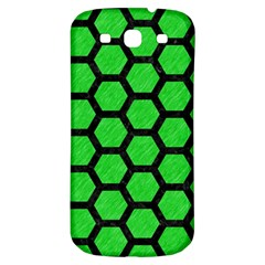 Hexagon2 Black Marble & Green Colored Pencil (r) Samsung Galaxy S3 S Iii Classic Hardshell Back Case