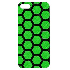 Hexagon2 Black Marble & Green Colored Pencil (r) Apple Iphone 5 Hardshell Case With Stand