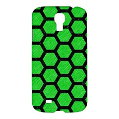 Hexagon2 Black Marble & Green Colored Pencil (r) Samsung Galaxy S4 I9500/i9505 Hardshell Case